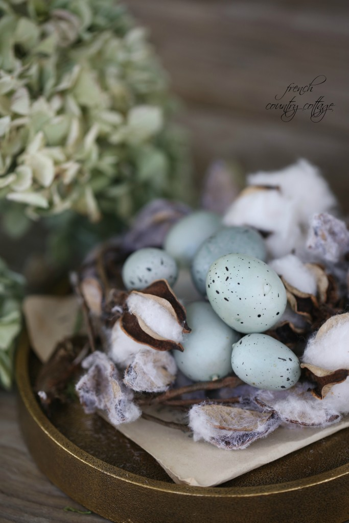 Pastel Eggs with Faux Cotton Picks for an Easter Table