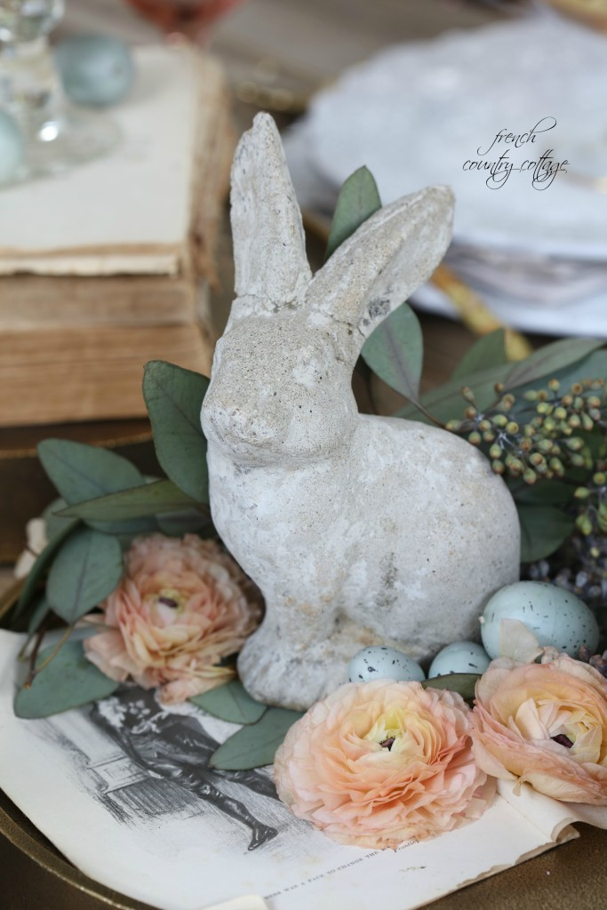Decorative Cement Rabbit for an Easter Table Setting