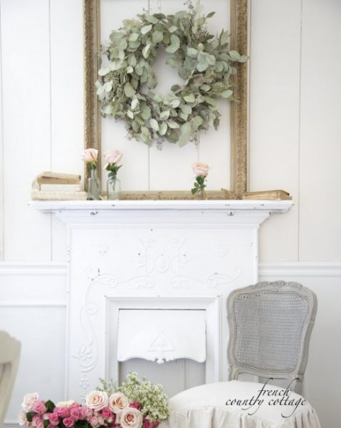 Balsam Hill's eucalyptus wreath paired with a frame finished in subtle gold