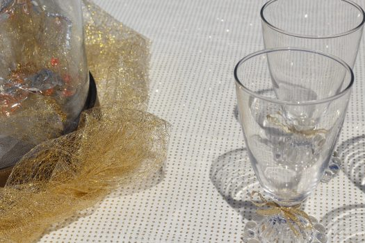 Water goblets and tablecloth to match