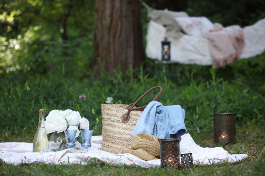 Simple yet romantic picnic setup