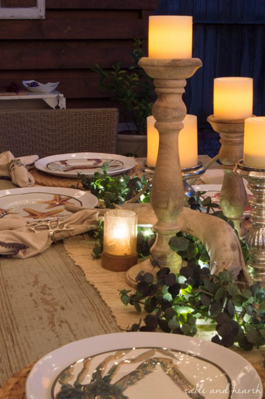 Nautical themed tablescape complete with accents