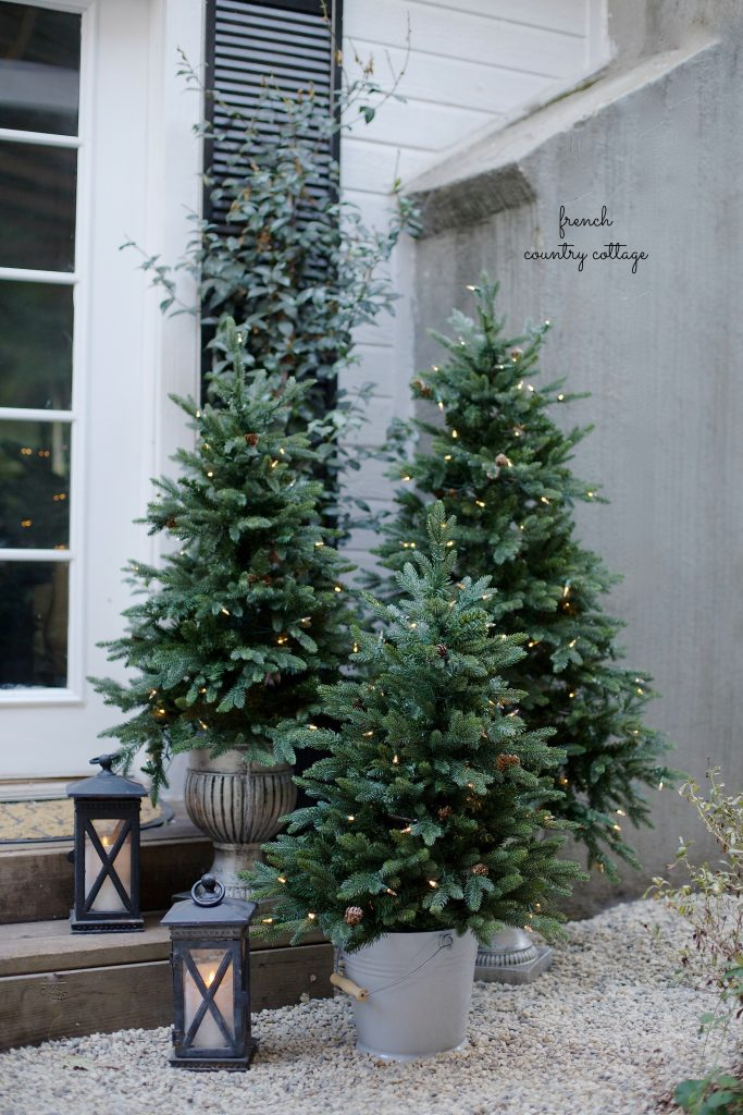 Three beautiful pre-lit potted trees to accentuate your patio