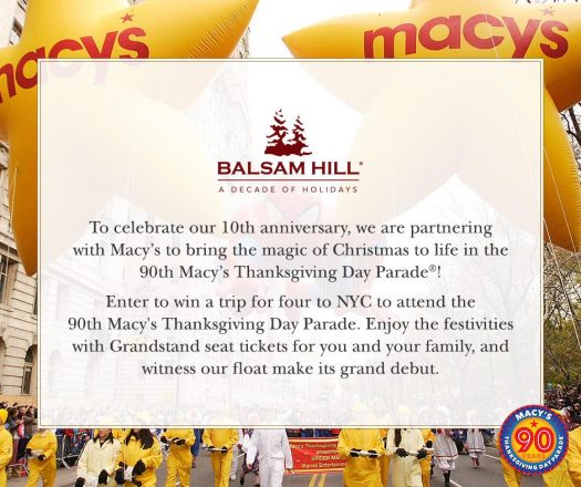 Balsam Hill's Macy's Parade giveaway