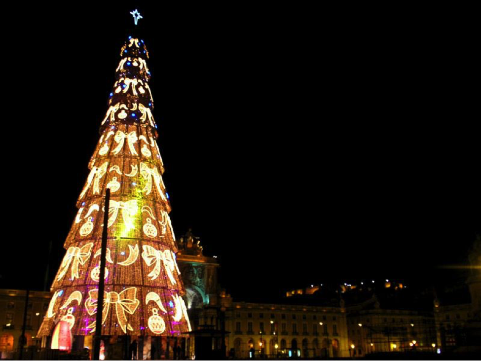 Steel Christmas tree with lights in Portugal