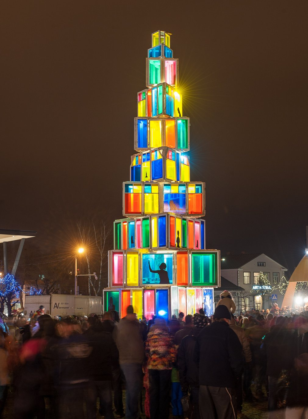Christmas Tree made of recycled windows in Estonia
