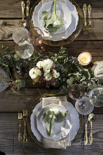 "Romantic Tablescape by Courtney from <a href=""""www.frenchcountrycottage.net"""">French Country Cottage</a>"