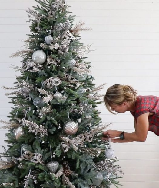 Sara Davis decorating their BH Fraser Fir