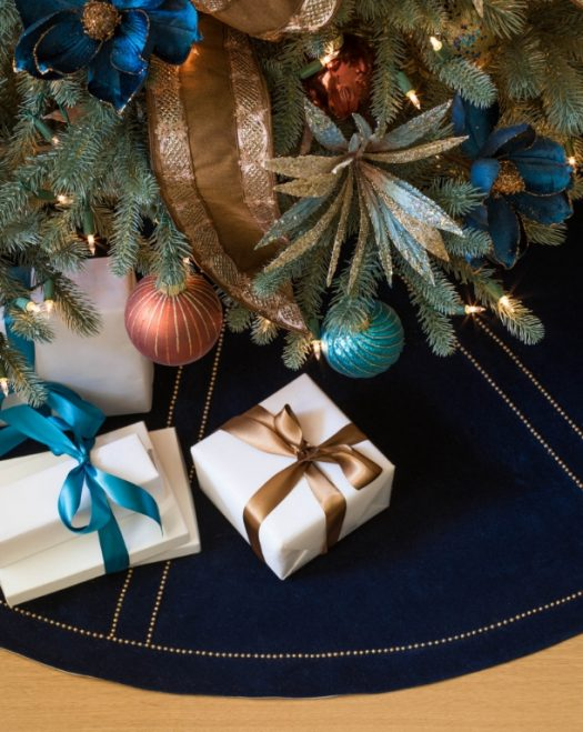 Colors of our gold and blue-themed Georgetown Ornaments perfectly align with one another