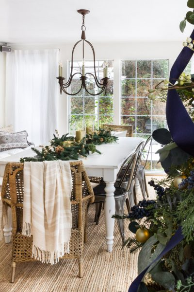 Christmas Tablescape with Natural Hues of green
