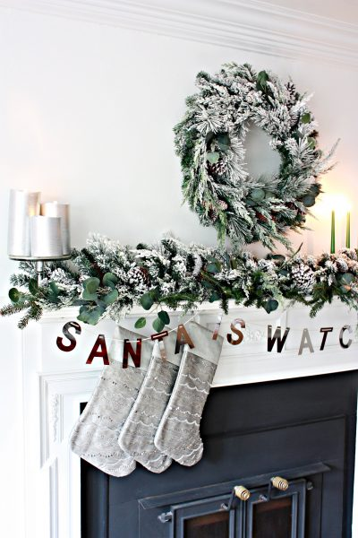 A closed firebox reduces fire risks when decorating the mantel (Photo courtesy of Nest of Posies)