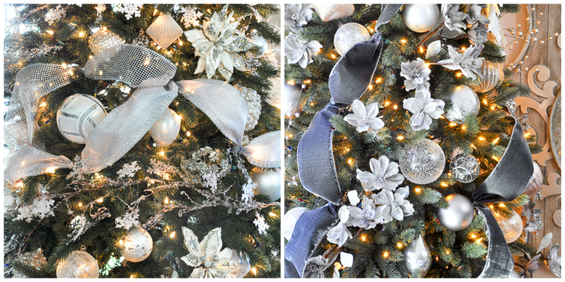 Side-by-side close-up photo of decorated artificial Christmas trees with traditional and LED lights