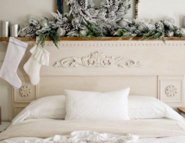 Balsam Hill Frosted Evergreen Foliage on mantel