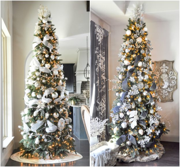 side by side photo of decorated vermont white spruce trees with led and traditional