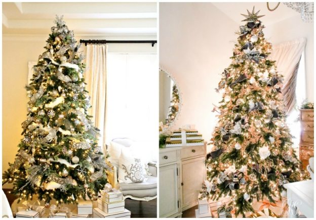 Side-by-side photo of decorated artificial Christmas trees with LED and traditional lights