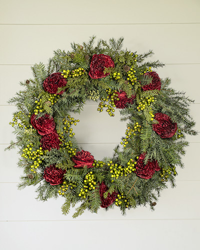 The versatile and vibrant Holiday Peony Wreath