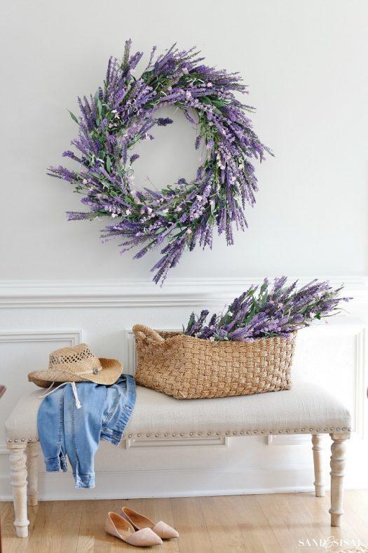 Lavender foliage add dainty charm to this foyer