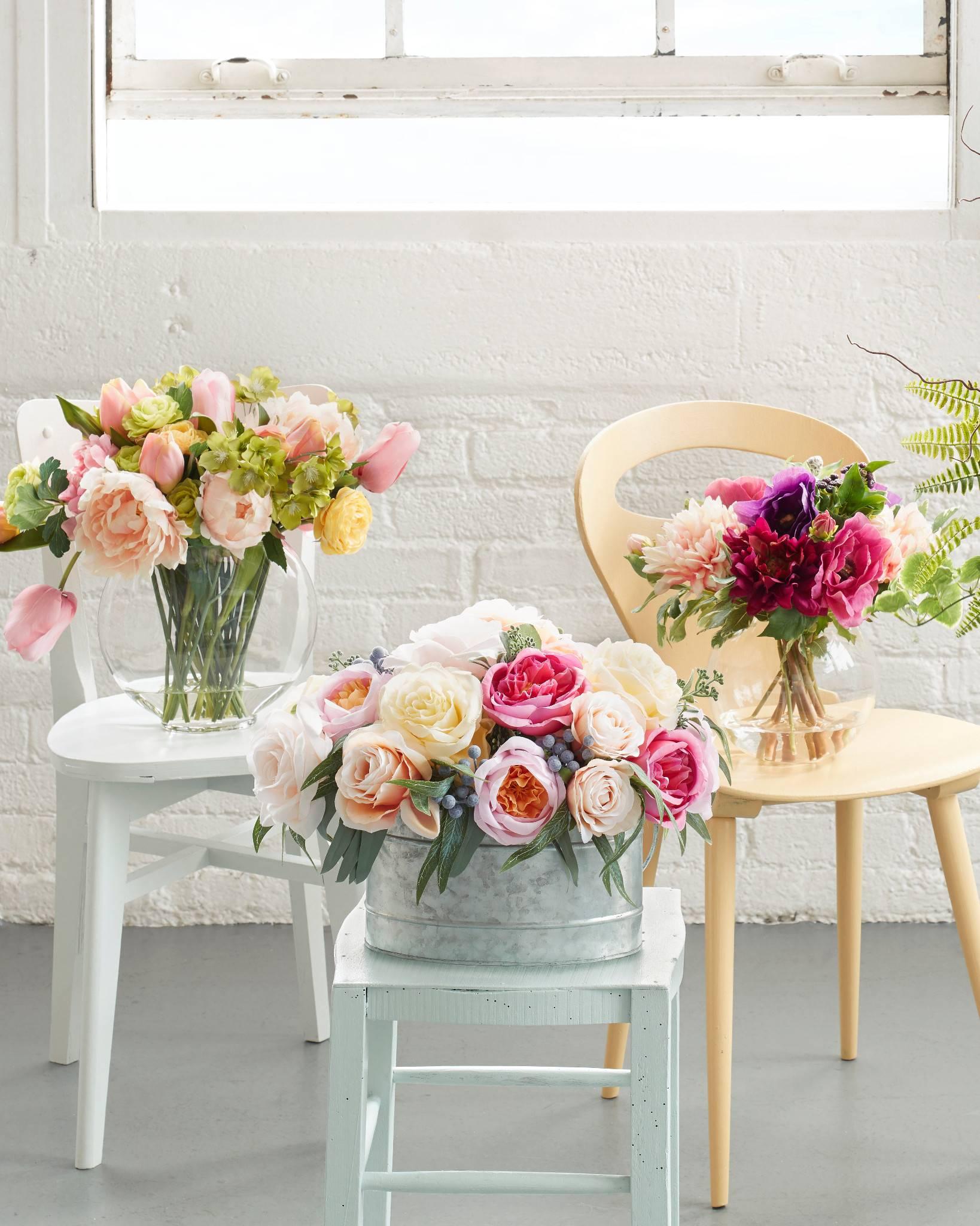 Balsam Hill Faux Floral Brittany Rose Arrangements
