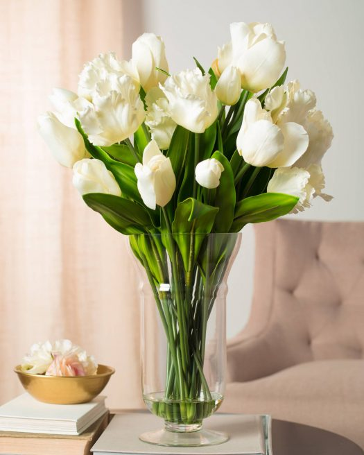 Pure white blooms complement any decorating scheme