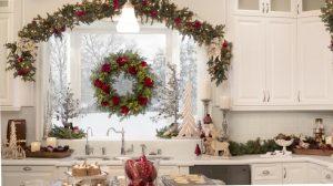 kitchen with christmas foliage on window