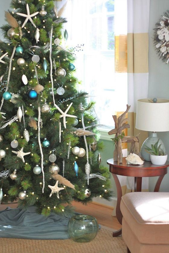 Christmas Tree with Coastal Ornaments