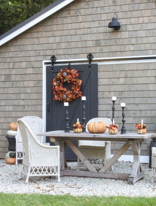 The rich colors of our Autumn medley foliage contrast perfectly against neutral gray hues