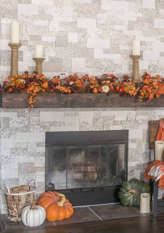 Autumn's bounty is well represented by vivid foliage and realistic pumpkins
