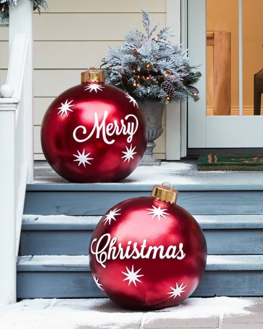 Balsam Hill's Outdoor Merry Christmas Ornaments add color and flair