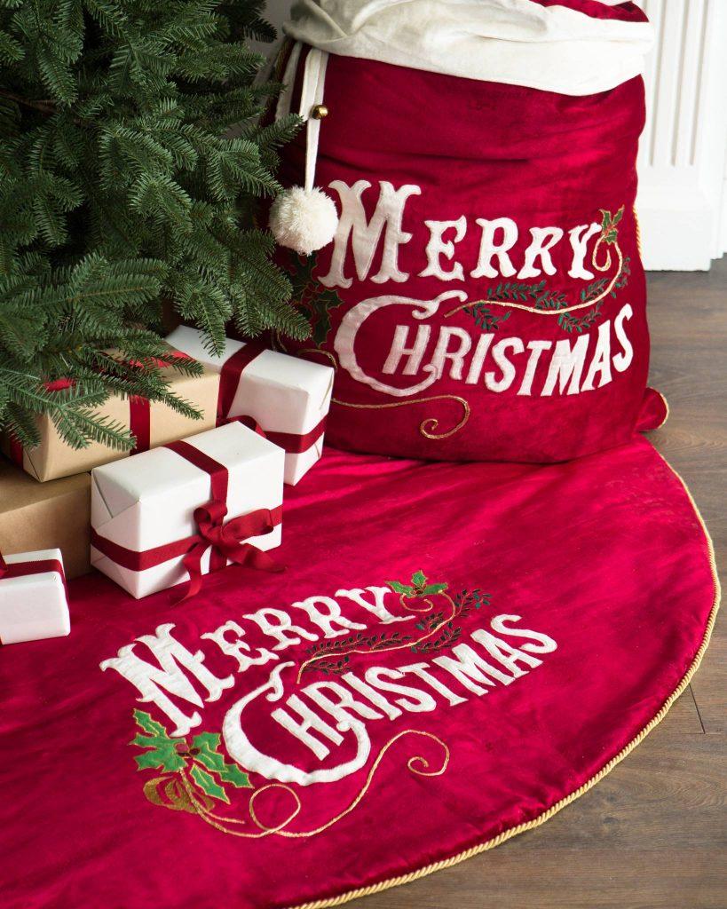 Velvet Tree Skirt and Santa Bag