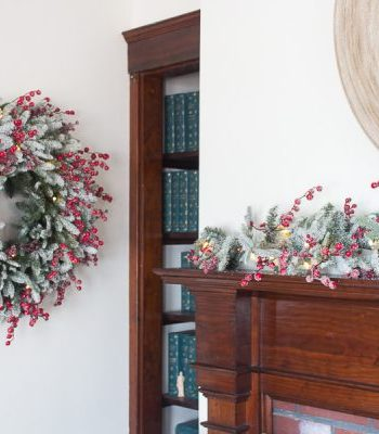 Red Berry Frosted Fraser Fir Wreath and Garland