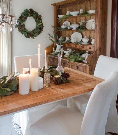Magnolia Leaf Wreath and Garland, Pushwick LED Flameless Pillar Candles