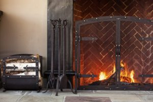 Hammered Iron Fireplace Screen and Tools