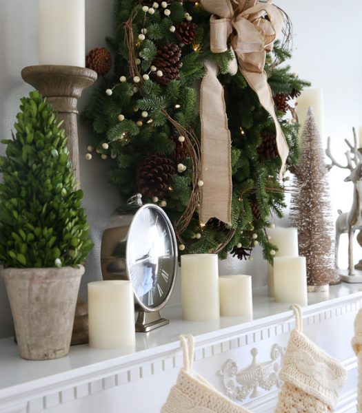 Red Spruce Woodland Charm Wreath, Rustic Oak Faux Bois Candle Holders, Pushwick LED Flameless Pillar Candles