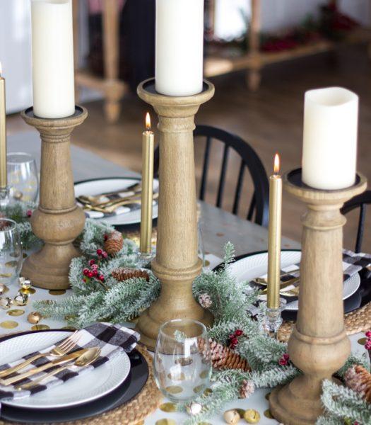 Rustic Oak Faux Bois Candle Holders, Pushwick LED Flameless Candles