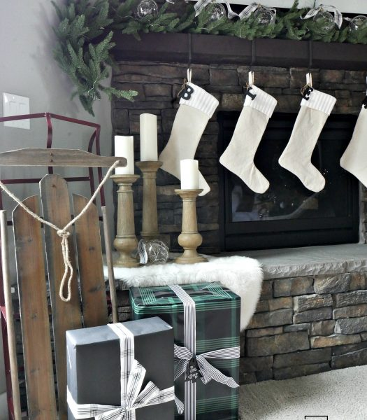 Holiday Hill Decorative Sled, Rustic Oak Faux Bois Candle Holders, Pushwick LED Flameless Pillar Candles