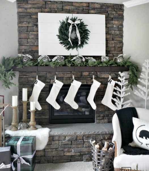 Colorado Mountain Spruce Wreath, Stratford Spruce Garland, Ivory Feather Christmas Tree, Rustic Oak Faux Bois Candle Holders, Pushwick LED Flameless Pillar Candles