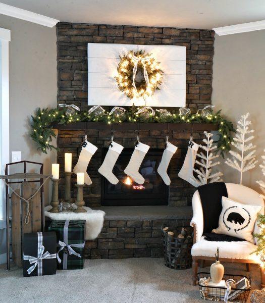 Colorado Mountain Spruce Wreath, Stratford Spruce Garland, Ivory Feather Christmas Tree, Holiday Hill Decorative Sled, Rustic Oak Faux Bois Candle Holders, Pushwick LED Flameless Pillar Candles