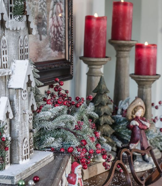 Red Berry Frosted Fraser Fir Garland, Miracle Flame LED Wax Red Christmas Candle, Rustic Oak Faux Bois Candle Holders