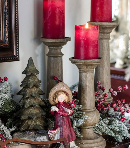 Miracle Flame LED Wax Red Christmas Candle, Rustic Oak Faux Bois Candle Holders, Red Berry Frosted Fraser Fir Garland