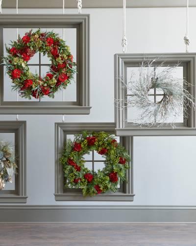 Framed holiday wreaths