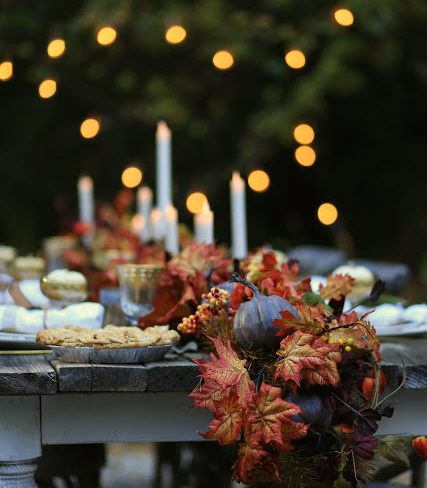 Autumn Medley Garland & Miracle Flame LED Wax Taper Candles