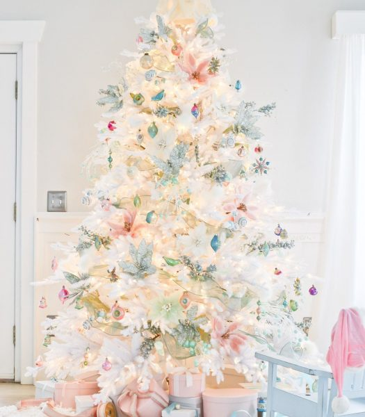 Denali White Tree, Vintage Pastel Ornaments, Frozen Berry and Icy Blue Poinsettia Picks