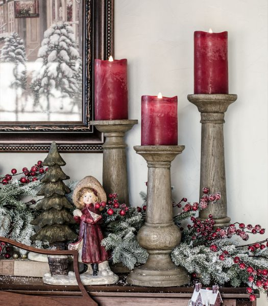 Faux Bois Candle Holders, Red Berry Frosted Fraser Fir Garland, & Miracle Flame LED Wax Red Christmas Candle