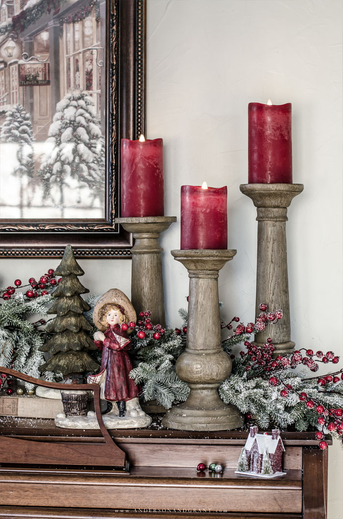 Faux Bois Candle Holders Red Berry Frosted Fraser Fir