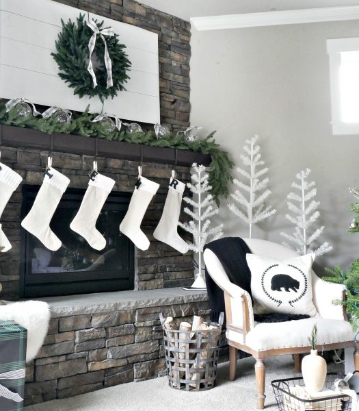 Ivory Knit Stockings, Ivory Feather Christmas tree, LED Fairy Light Ornaments, & Stratford Spruce Garland