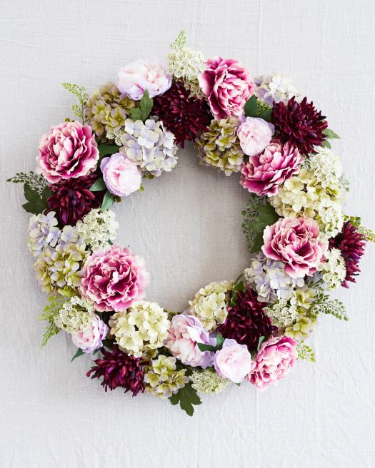 Purple Peony Flower Wreath