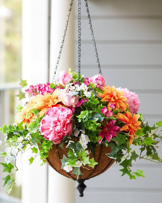 Outdoor Radiant Peony Hanging Basket