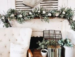 Balsam Hill Marseille Meadow Garland displayed on mantel