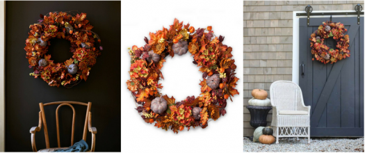 Artificial hydrangea and pumpkin wreath