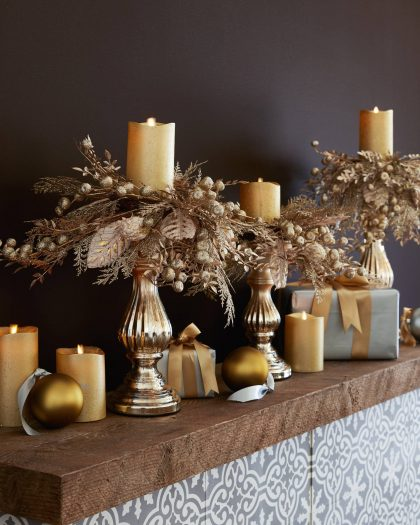 Miracle-Flame-LED-Wax-Pillar-Candle-Frosted-Gold